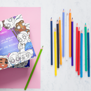 the-girls-herstory-flatlay-coloring pencils